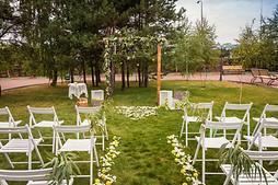 Rustic ceremony set-up