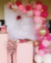 Custom baby shower sign with plinths, balloons, cherry blossom trees and backdrop.