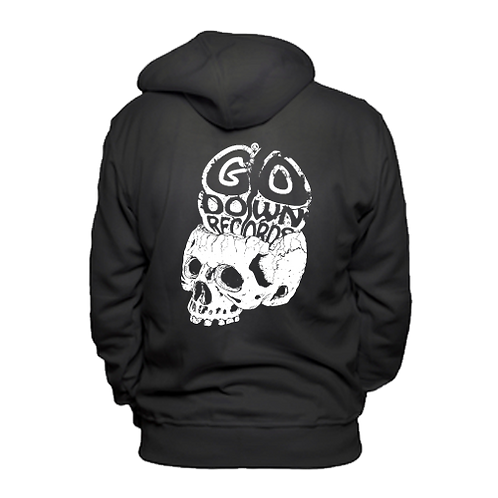 Go Down Records skull hoodie