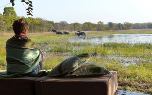 Nanzhila Plains - Viewing Elephant over the dambo