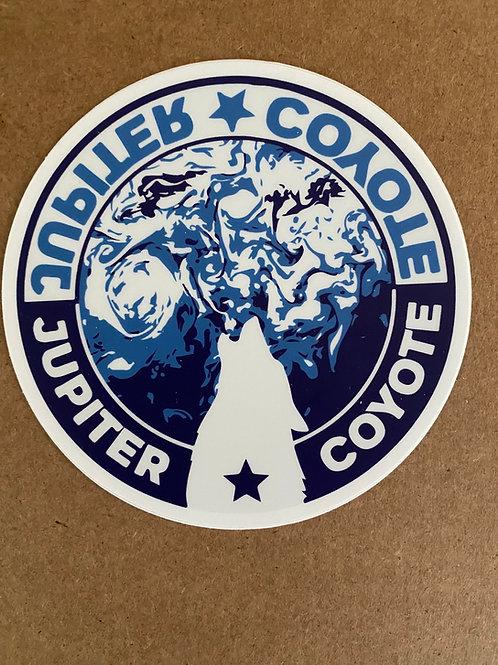 Coyote Blue Planet Sticker, 4 inch round