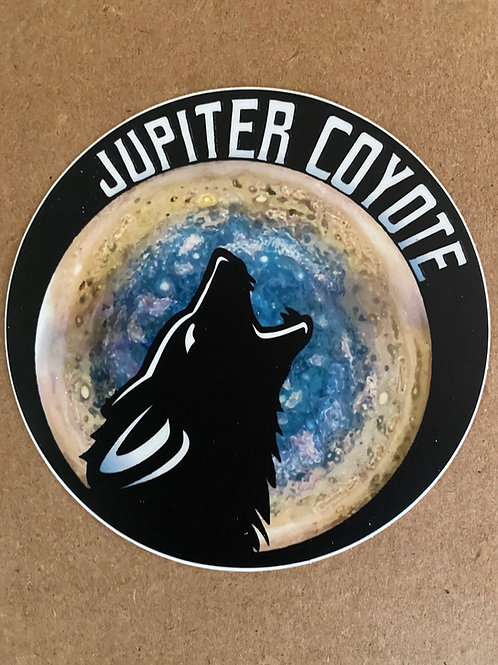 Black Coyote sticker, 4 inch round