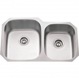 Stainless Steel (18 Gauge) Kitchen Sink w/Two Unequal Bowls.
