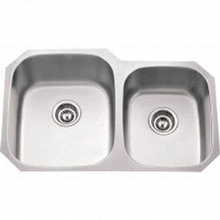 16 Gauge 60/40 Under Mount Stainless Steel Sink 801L