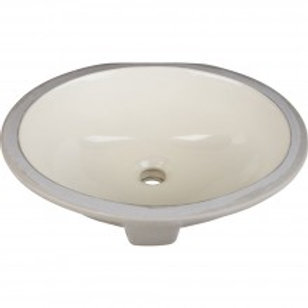 "15"" WHITE- Oval Undermount Porcelain Basin"