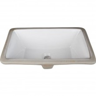 "16"" Undermount White Porcelain Rectangle Basin"
