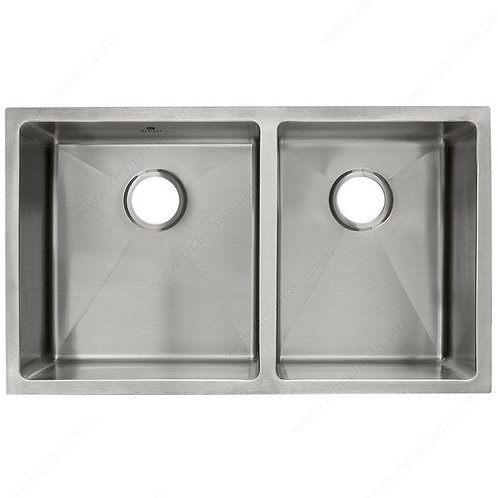 Stainless Steel, 18 ga.  Architectural style Dbl. Offset Bowl Sink