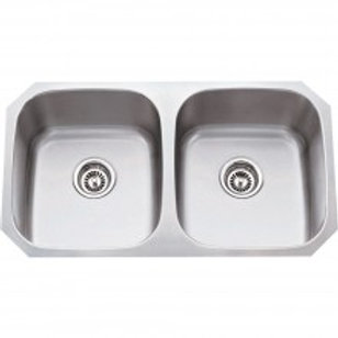 16 Gauge 50/50 Stainless Steel Undermount Sink, equal bowls