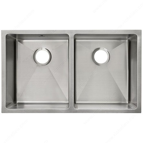 Stainless Steel, 18 ga.  Architectural style Equal Double Bowl Sink
