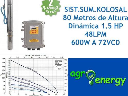 Sistema de bombeo solar sumergible 1.5hp 48 lpm