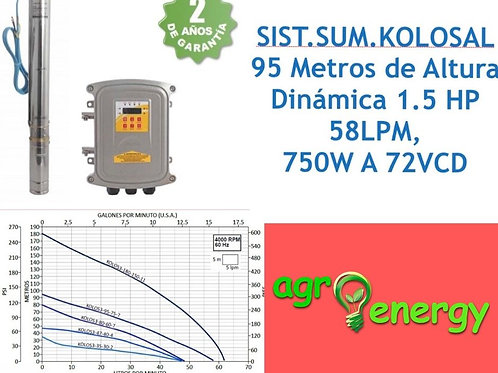 Sistema de bombeo solar sumergible 1.5 hp 58 lpm