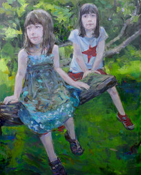 Portrait of Audrey and Vivienne, Oil on Canvas, 40x30