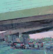 Highway, Oil on Wood Panel, 12x12