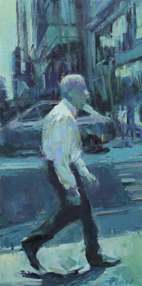 Passerby 7, Oil on Wood Panel, 12x4