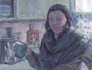 Self Portrait in Kitchen (Study), Oil on Canvas, 9x12
