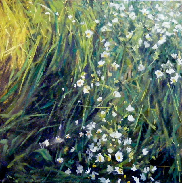 Grass and Flowers, Oil on Linen, 24 x 24