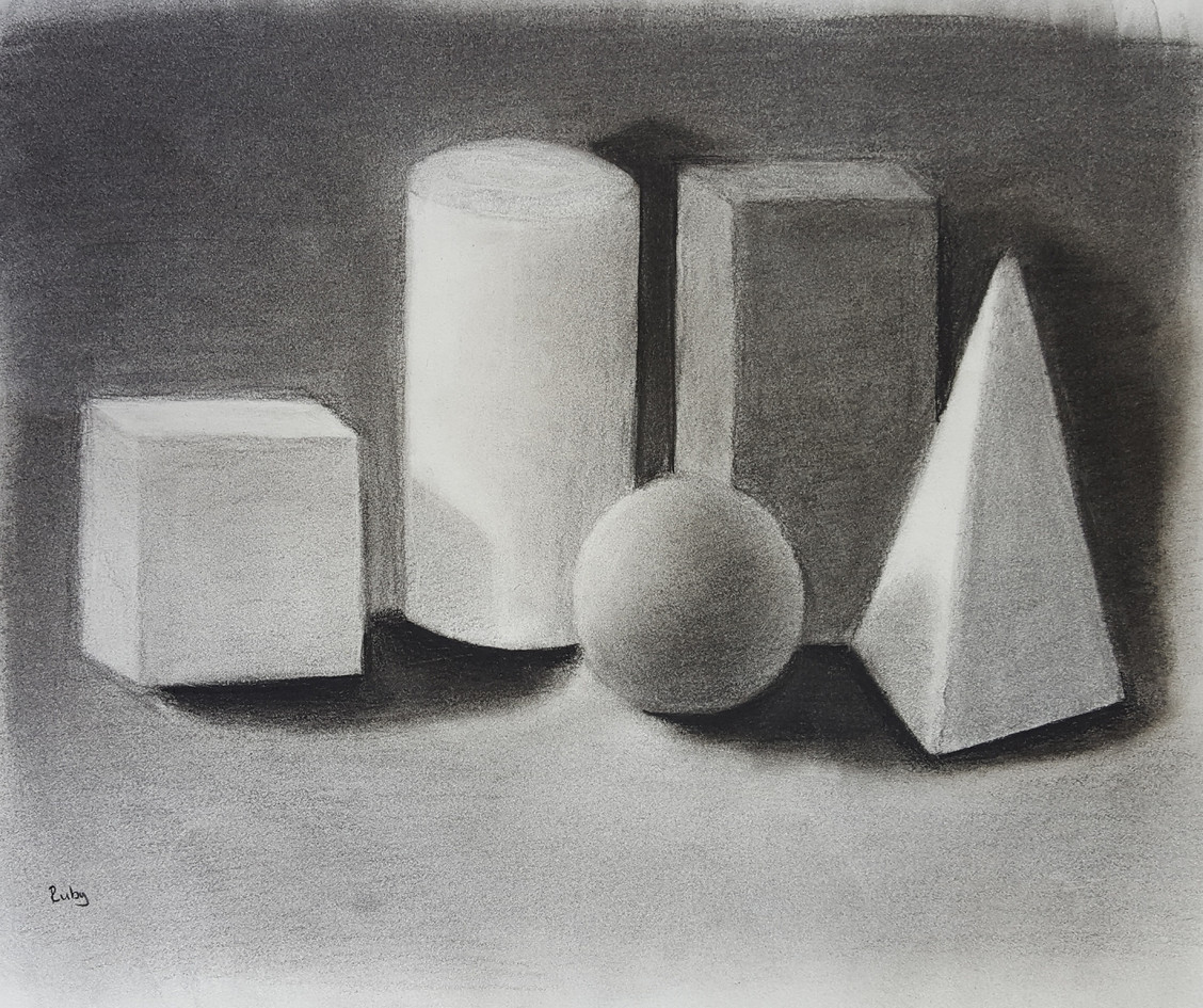 Charcoal study from observation, 10 year old student