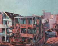 Back Porches, Oil on Canvas, 24x24