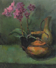Orchid and Teapot, Oil on Canvas, 18x24