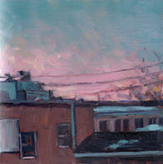 Rooftops, Oil on Panel 5 x 5