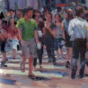 Crosswalk, Oil on Panel, 5 x 5