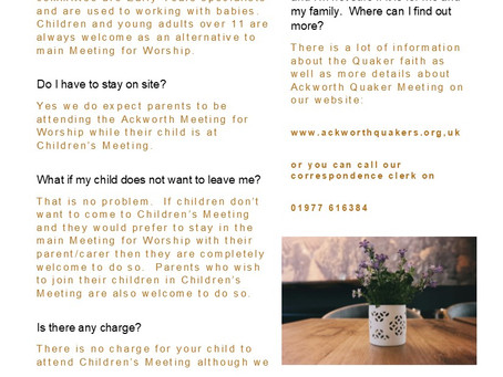 frequently asked questions about Children's Meeting...