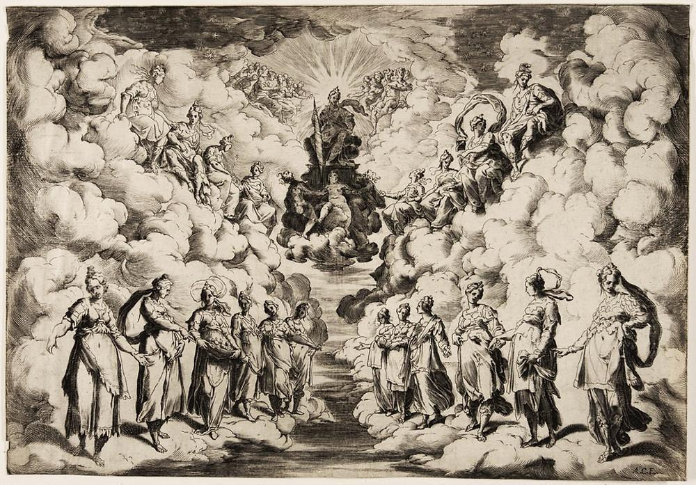 Uma alegoria da música das esferas, gravura de Agostino Carracci a partir de original de Andrea Boscoli. Imagem em tons de cinza.