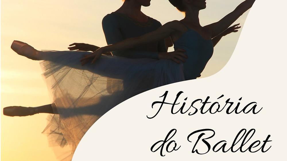 perfil de casal de bailarinos ao ar livre com título história do ballet