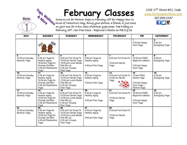 February 2019 Calendar_Class Description