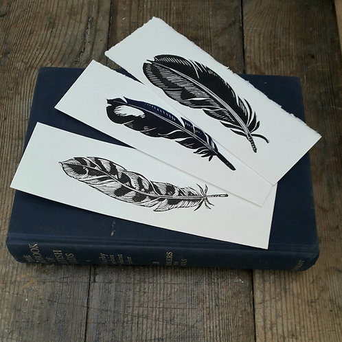 Hand Printed Set of  3 Feather Bookmarks