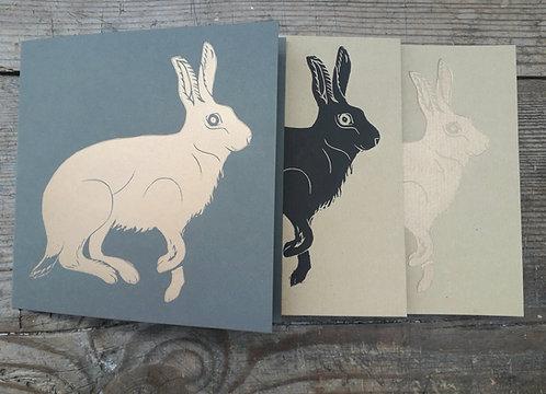 Hare Hand Printed Linoprint Card
