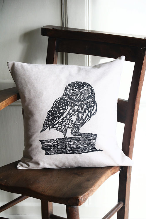 Little Owl Handprinted Cushion