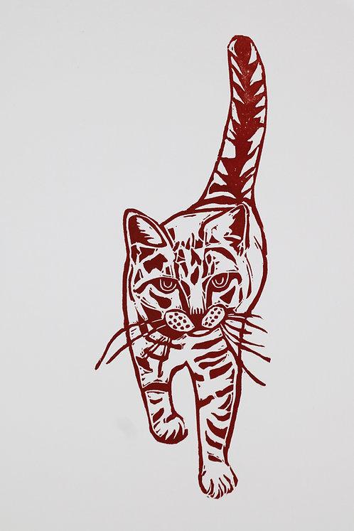 Fishy Cat Strut Original Linocut Print