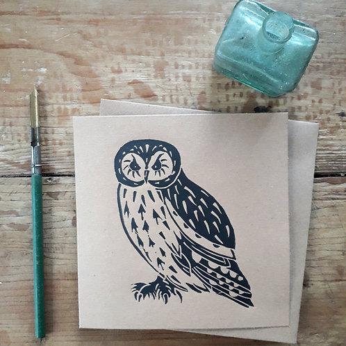Owl Hand Printed Linocut Card