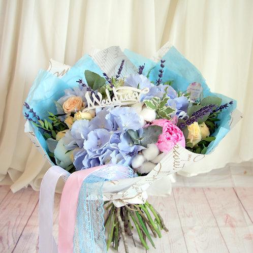 голубые цветы гортензия букет