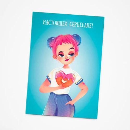Арома-открытка «Девочка с пончиком»