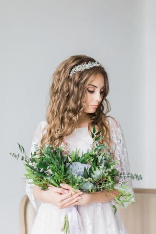 Botanical wedding. Зеленый букет невесты