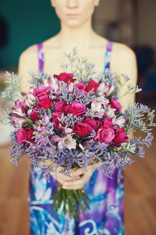 сиреневые цветы розовые розы