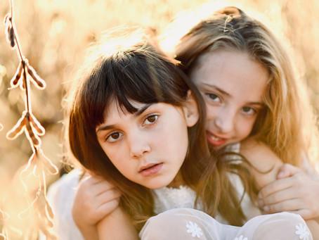 E & C-Sisters-Golden Hour Family Photos-Wales-Waukesha-Wisconsin