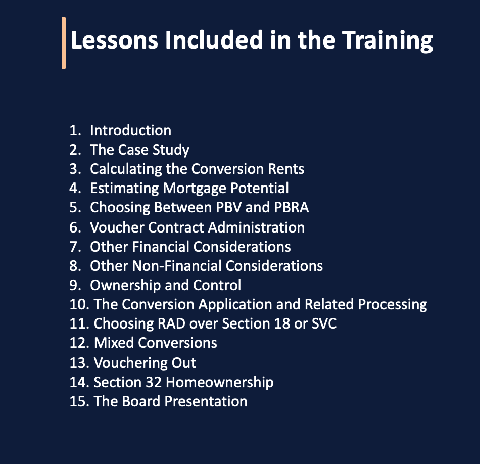A list of the lessons included in the training