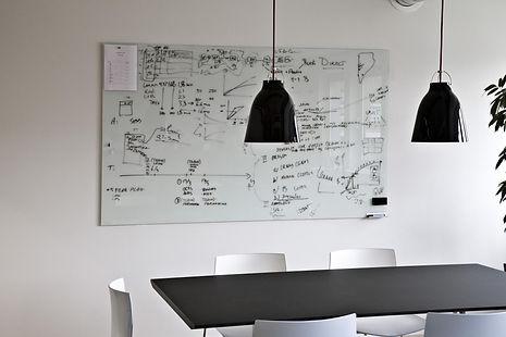 Chat Board glastavle med sort skrift