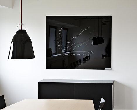 Chat Board sort glastavle med hvid skrift