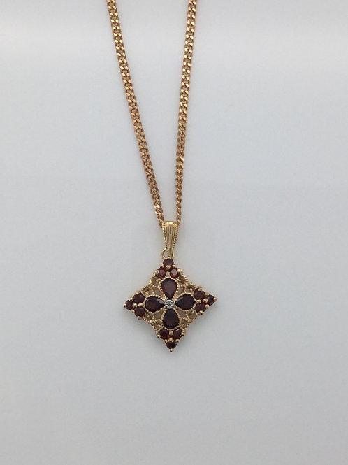9ct Rose Gold Garnet & Diamond Set Pendant