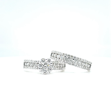 Cluster Engagement Ring & Wedding Band