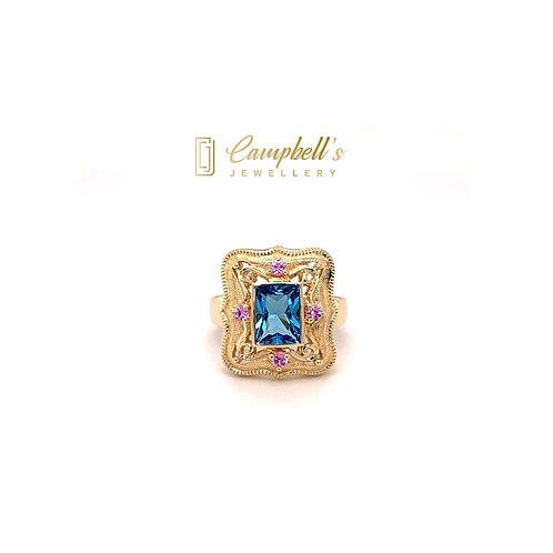 Swiss Blue Topaz & Pink Sapphire Ring