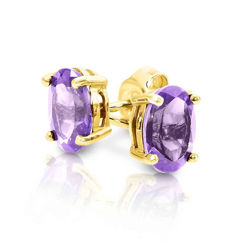 9ct Yellow Gold Amethyst Oval Studs