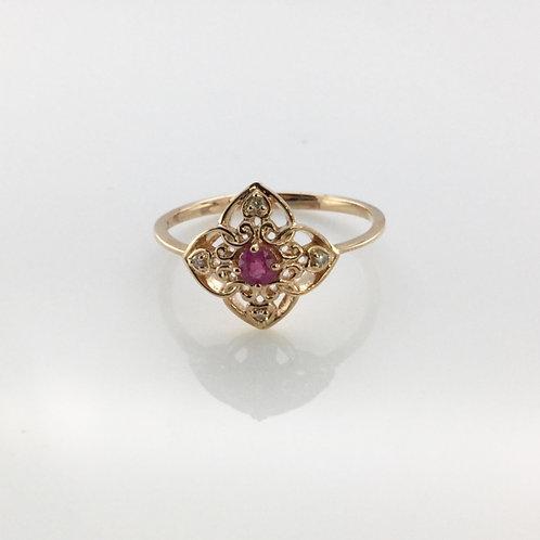 Ruby & Diamond Flower Ring