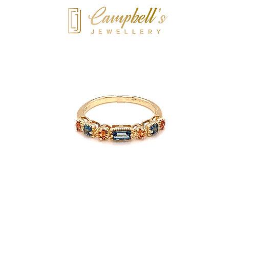 Swiss Blue Topaz & Orange Sapphire Ring