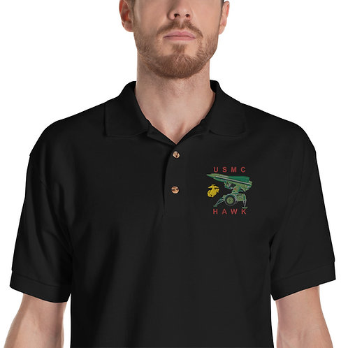 USMC HAWK Black Polo Shirt