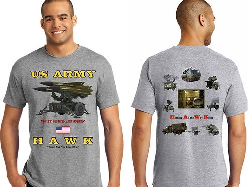 US Army HAWK Front & Back Tee Shirt Light Steel Color